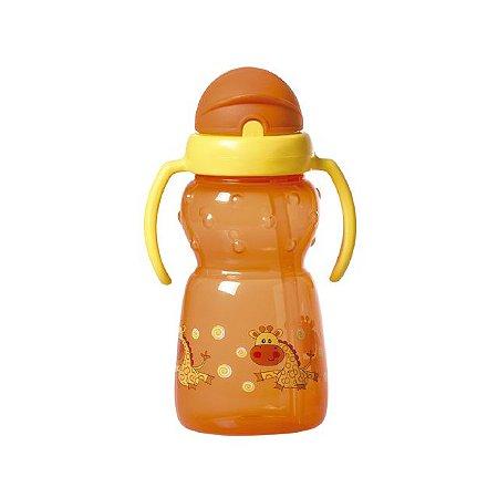 Copo com canudo de silicone e alça dupla Funny - Girafa - 350 ml - Girotondo Baby