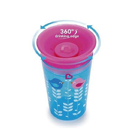 Copo Grande Decorado 360 graus de treinamento  - 266 ml - Rosa / Azul - Passarinho - Munchkin