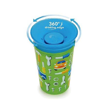 Copo Grande Decorado 360 graus de treinamento  - 266 ml - Azul / Verde - Carrinho - Munchkin
