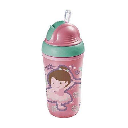Copo Térmico com Canudo de Silicone Cool - Rosa - (24M+) - Multikids Baby