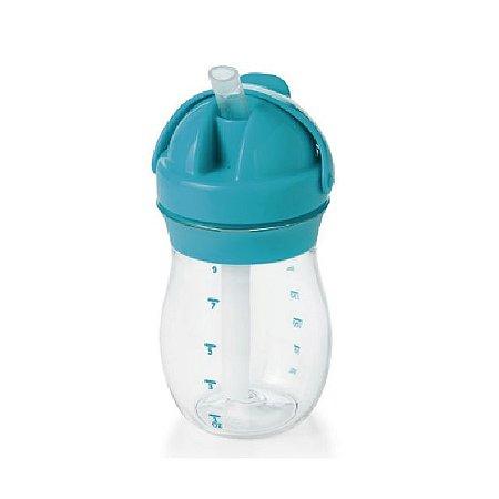 Copo Infantil de Treinamento com Canudo de Silicone  e Tampa Articulada - Azul – 250 ml -  Oxo Tot