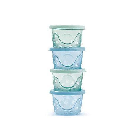 Kit de 4 Potes Infantis Translúcido (125 ml cada) - Azul - Adoleta