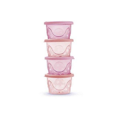 Kit de 4 Potes Infantis Translúcido (125 ml cada) - Rosa - Adoleta