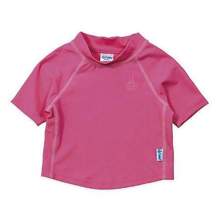 Camiseta Blusa Infantil de Banho Manga Curta Rosa Pink - FPS 50+ Iplay