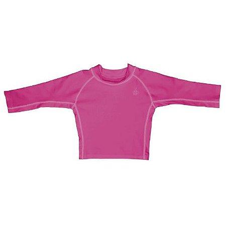 Camiseta Blusa Infantil de Banho Manga Longa Rosa Pink FPS 50+ Iplay