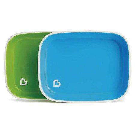 Conjunto com 2 Pratos Azul e Verde (Splash Toddler Plate) - Munchkin