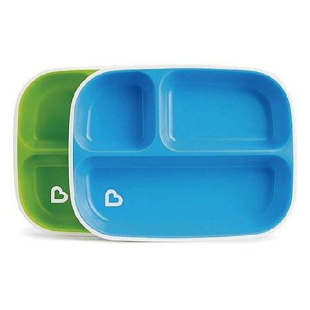 Conjunto com 2 pratos com divisórias Azul e Verde (Splash Toddler Divided Plate) - Munchkin