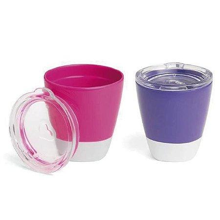 Conjunto com 2 Copos com Tampa Rosa e Roxo (Splash Toddler Cups) - 207 ml - Munchkin