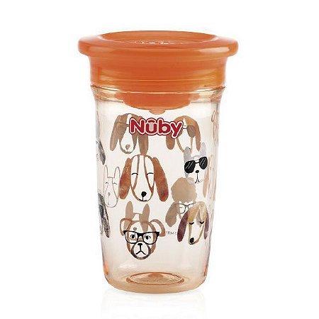 Copo infantil  360 Tritan laranja cachorro 300 ml Nuby