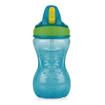 Copo Easy Grip com bico rígido retrátil 300 ml verde água +12m Nuby
