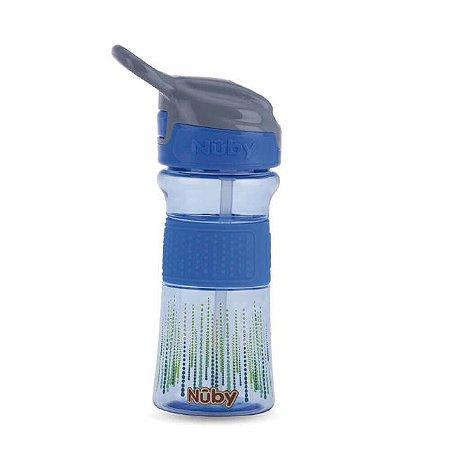 Copo Thirsty Kids infantil Tritan com botao e super bico de silicone azul bolinhas 360 ml 18+m  Nuby