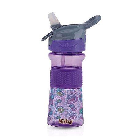 Copo Thirsty Kids infantil Tritan com botao e super bico de silicone lilas ovais coloridos 360 ml 18+m  Nuby