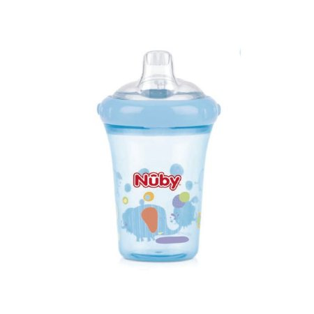 Copo com bico de silicone – Elefante - Azul  – 207 ml - Nuby
