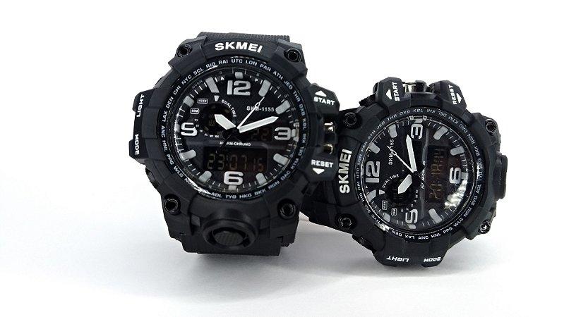 21fe5836860 SKMEI 1155 Relógio Masculino Digital LED - PRETO - Queiroz Carvalho JK