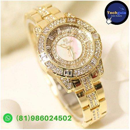 6acd3999f94 BS Top Marca de Luxo Relógio de Diamantes Mulheres Rhinestone Relógios Lady  Pulseira de Aço Inoxidável