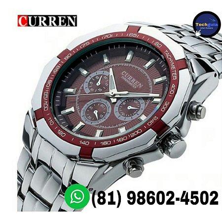 c5eb1308d29 Relógios De Luxo CURREN aço inoxidável visor em vidro