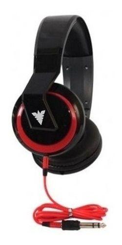 Fone de ouvido PHX NO-5899 Cores Preto, Vermelho e Branco