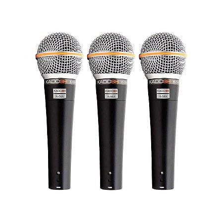 Kit Microfone Vocal Com Fio Kadosh K-58A (3 Peças)