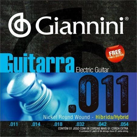 Encordoamento Giannini p/Guitarra .011 Nickel Round Wound - Híbrida