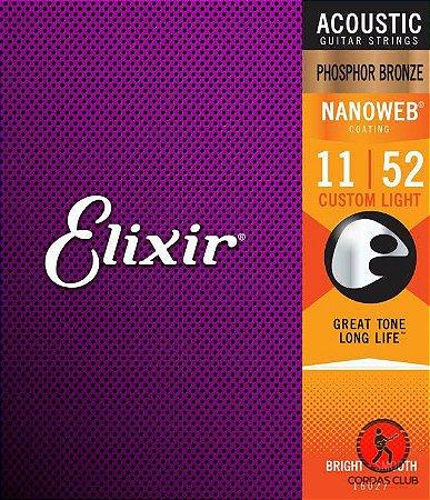 Encordoamento Elixir Violão Aço 11/52 Extra Light  Fósforo Bronze