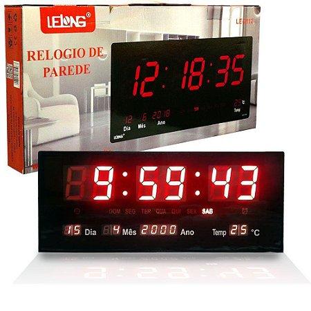 Relógio De Parede Led Digital Grande Termometro 46cm