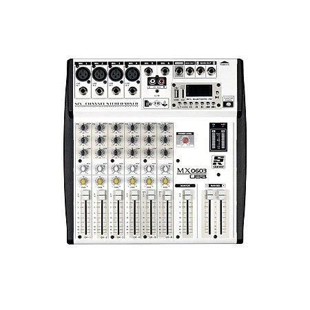 Mesa De Som Staner 6 Canais Mx0603 Usb Mixer Bluetooth