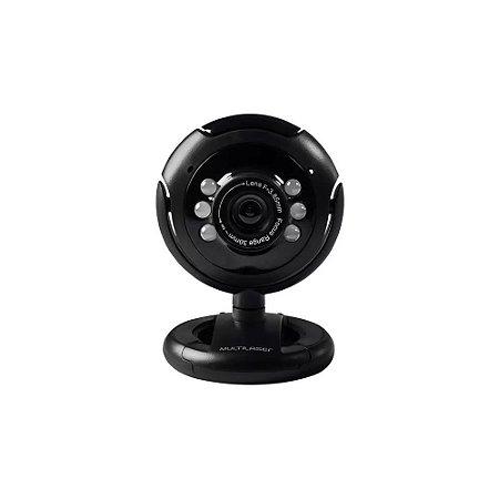 Webcam Multilaser 16mp Nightvision Microfone Usb Preto Wc045