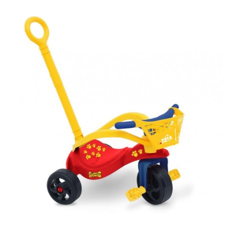 Triciclo Cachorrinho com Empurrador, Proteção e Cestinha