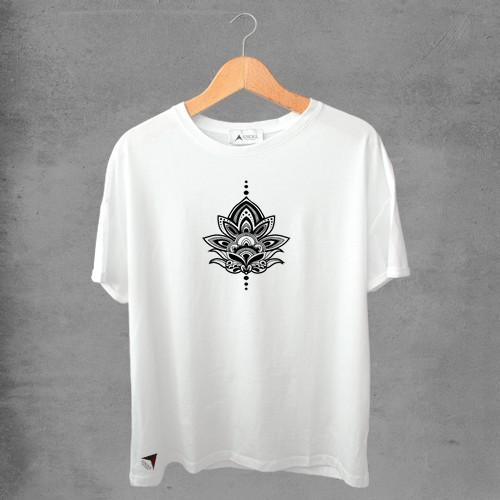 Camiseta masculina e feminina basic branca 100% Algodão Flor de Lotus Tribal
