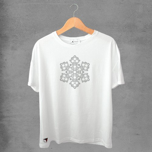 Camiseta masculina e feminina basic branca 100% Algodão Mandala Tribal Nº 19
