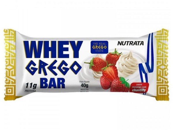 BARRINHA WHEY GREGO BAR MORANGO COM CHANTILLY  NUTRATA 40 GRAMAS