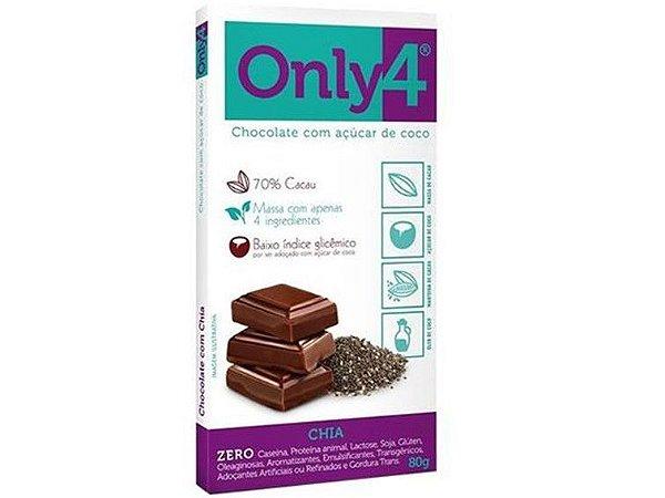 CHOCOLATE 70% CACAU/CHIA 80 GRAMAS ONLY4