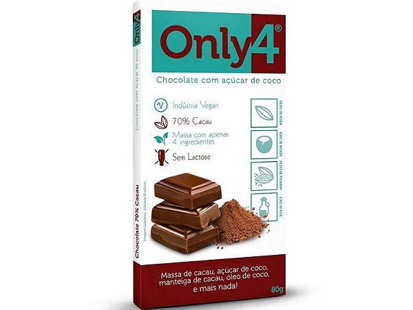 CHOCOLATE 70% CACAU PURO 80 GRAMAS ONLY4