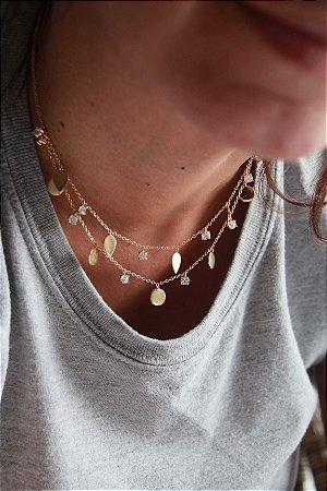 Colar Círculos Com Pontos de Luz Gold- Prata 925