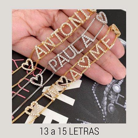 Pulseira Personalizada 13 a 15 Letras Cravejadas