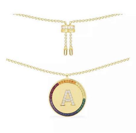 New! Colar Medalha Sua Letra Rainbow
