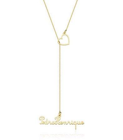 Colar Gravatinha Gold Prata 925