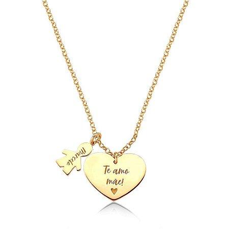 Colar Amor Materno MENINO Gold Prata 925