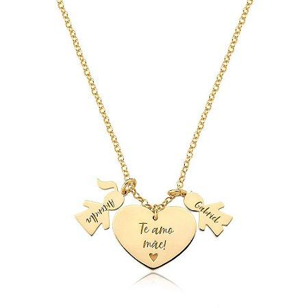 Colar Amor Materno CASAL Gold Prata 925