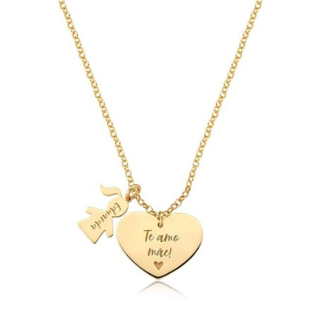 Colar Amor Materno 1 MENINA Gold Prata 925