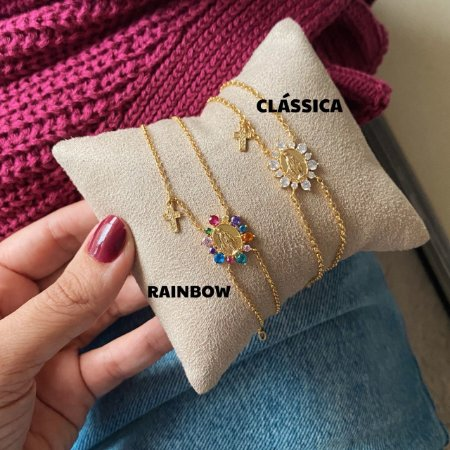 Pulseira Mini Nossa Senhora Rainbow Gold • Prata 925
