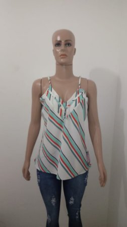 Blusa branca com detalhes em listra - Cor da linha - Moda Online ... 0c75ac5be97