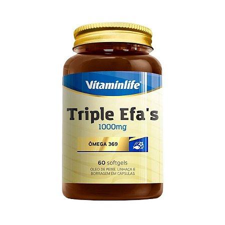 Triple EFA's (Ômega 3 6 9) VITAMINLIFE 1000mg 60 Cápsulas