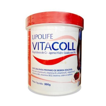 Vitacoll Colágeno Hidrolizado em Pó MEDIERVAS Sabor Morango 200g
