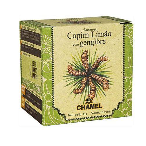 CHA CAPIM LIMAO COM GENGIBRE 10 SACHES CHAMEL