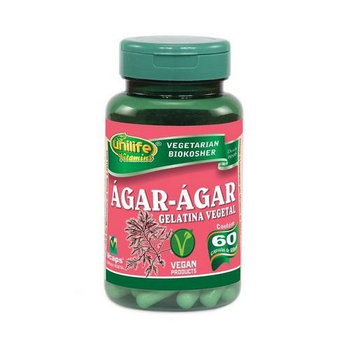 Ágar Ágar Gelatina Vegetal UNILIFE 600mg 60 Cápsulas Vegetais