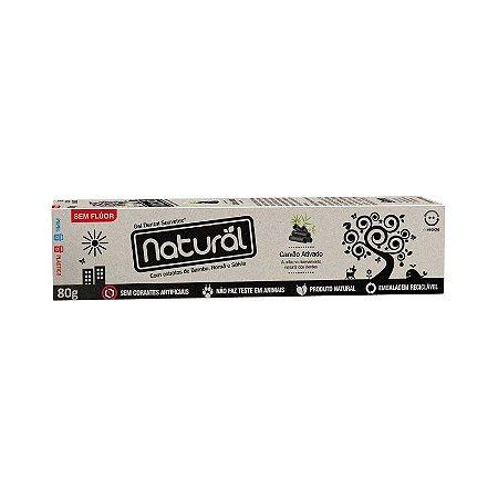 Gel Dental NATURAL Carvão Ativado com Extratos de Bambu, Romã e Sálvia Sem Flúor 80g