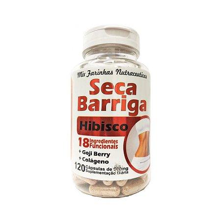 Seca Barriga Hibiscus (Farinhas Funcionais + Colágeno + Goji Berry) 4 ELEMENTOS 500mg 120 Cápsulas