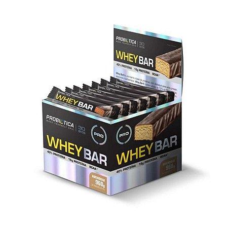Whey Bar PROBIÓTICA Sabor Amendoim Caixa com 24 Unidades 40g