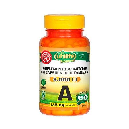 Vitamina A (Retinol) UNILIFE 8000ui 60 Cápsulas Vegetais
